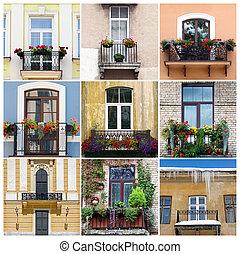 collage, photo, neuf, balcons