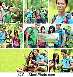 hiking people / camping trip together