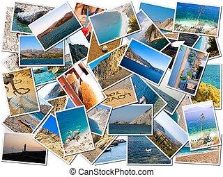 collage, photo, vie, mer