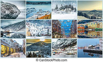 collage, photos, bergen