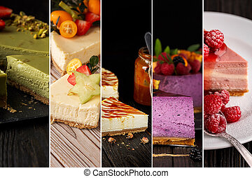 collage, photos, cheesecake