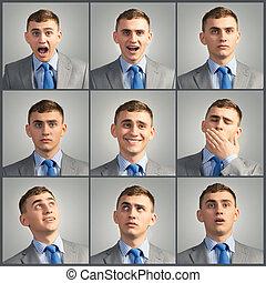 collage, photos, différent, jeune homme