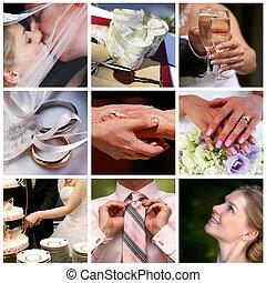 collage, photos, neuf, mariage