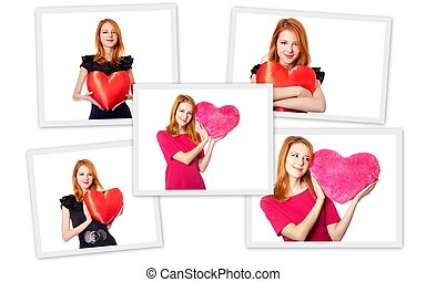 Collage photos of redhead girl with toy heart.