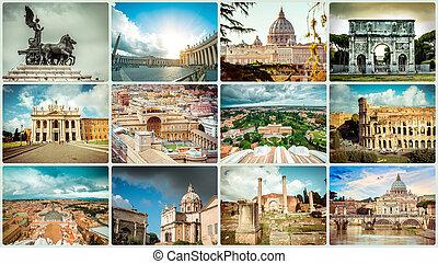 collage, photos, rome