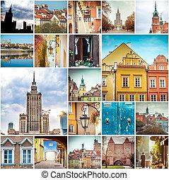 collage, photos, varsovie