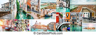 collage, photos, venise