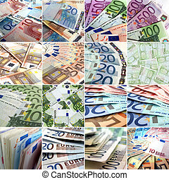 collage, pieniądze