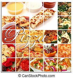 collage, pizza