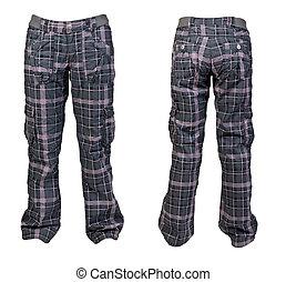collage, plaid, chaud, deux, pantalon