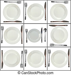 Collage- plates on white background.