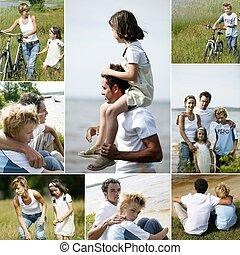 collage, platteland, gezin