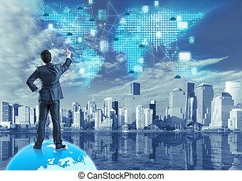 collage, pojęcie, technologia, chmura, obliczanie