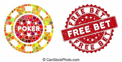 Collage Poker Casino Chip with Textured Free Bet Seal