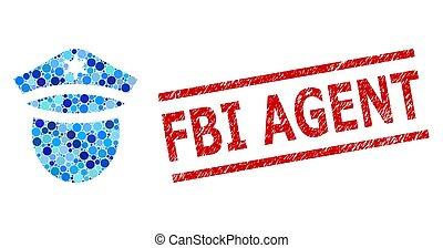 collage, policía, fbi, grunge, sello, agente, cabeza, ...