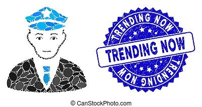 Collage Policeman Icon with Textured Trending Now Stamp - ...