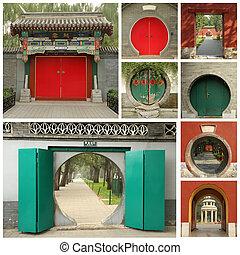 collage, porte, chinois