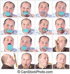 Collage portrait fat man eating a lollipop