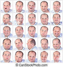 Collage portrait fat man with difference emotions, on white...