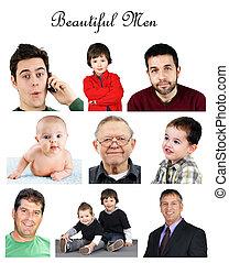 collage, portrait, hommes