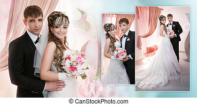 Collage - Portrait of the groom and the bride near a window