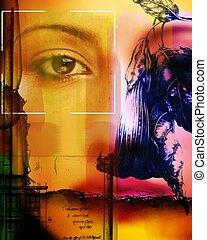 collage, portretten, artistiek, gebruik, model, bloemen