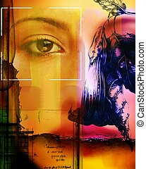collage, portrety, artystyczny, używając, wzór, kwiaty
