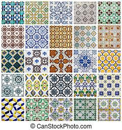collage, portugiesisch, fliesenmuster