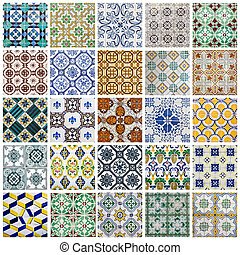 collage, portugués, azulejos