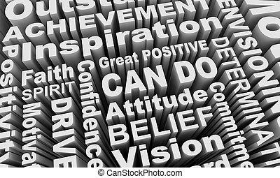 collage, positif, illustration, attitude, boîte, mots, esprit, 3d