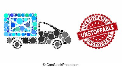 Mosaic post delivery car and corroded stamp seal with Unstoppable phrase. Mosaic vector is created with post delivery car icon and with scattered spheric elements.