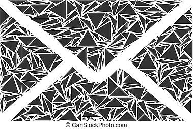 collage, postbriefomslag, driehoeken