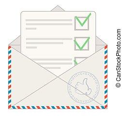 collage, prêt, boîte lettres, application, approuvé, dehors