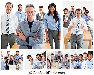 collage, praca, handlowy zaprzęg