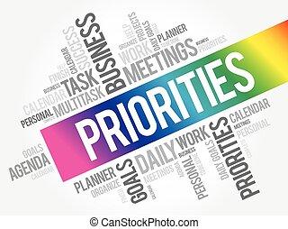 collage, priorities, nube, palabra