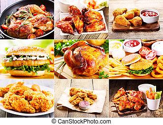 collage, productos, pollo, vario
