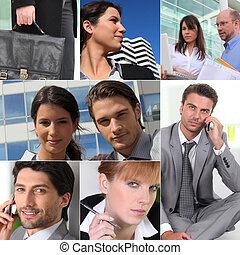 collage, profesionales, trabajo, empresa / negocio