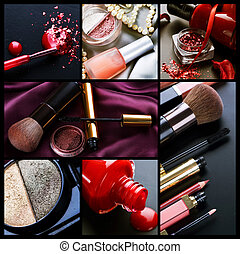collage, professionell, make-up