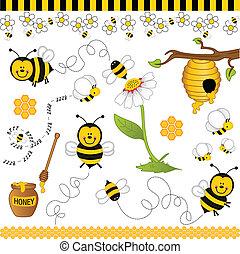 collage, pszczoła, cyfrowy