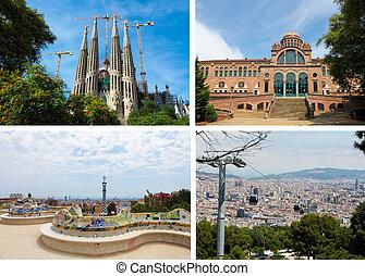 collage, punkty orientacyjny, barcelona