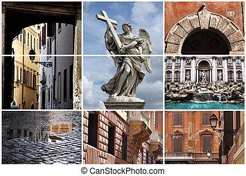 collage, punkty orientacyjny, rzym