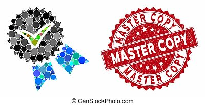 Collage Quality Badge with Scratched Master Copy Seal