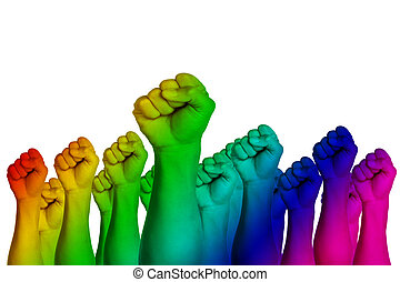 Collage rainbow flag and human hands isolated on white background. Male handful over rainbow background. LGBT Concept activism, community and freedom. Lesbian, gay, bisexual and transgender with copy space