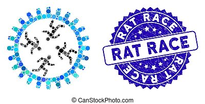 Collage Rat Race Gear Icon with Scratched Rat Race Stamp - ...