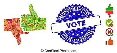Collage Rate Thumbs Icon with Grunge Presidential Election Vote Stamp