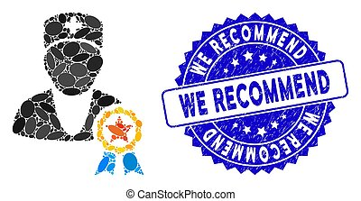 Collage Recommended by Doctors Icon with Distress We Recommend Stamp