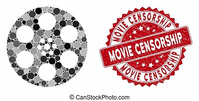 Collage Reel with Distress Movie Censorship Stamp