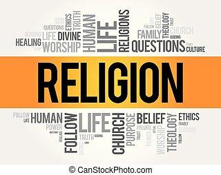collage, religión, palabra, nube
