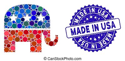 Collage Republican Elephant Icon with Scratched Made in USA Stamp