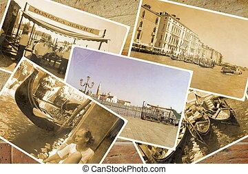 Collage Retro Postkarte, Gondel Service with gondolier at...